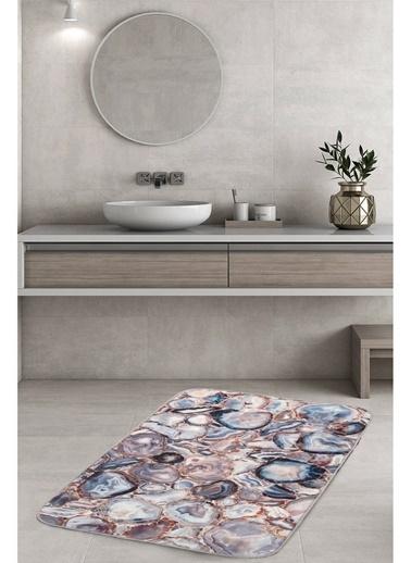 Hamur Agate 75x125 cm Banyo Paspası Kaymaz Taban Banyo Halısı Mavi